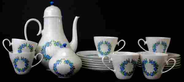 ROSENTHAL PORCELAIN FLORAL CHINA COFFEE SET 20 PC
