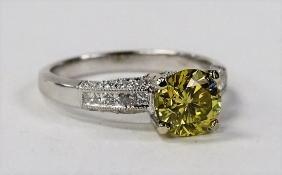 1.19CT FANCY YELLOW DIAMOND & 18K WHITE GOLD RING
