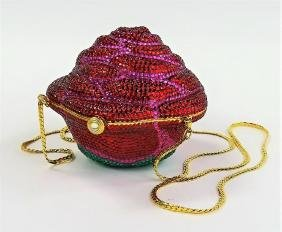 ROSE FORM BEADED LADIES PURSE WITH CHAIN