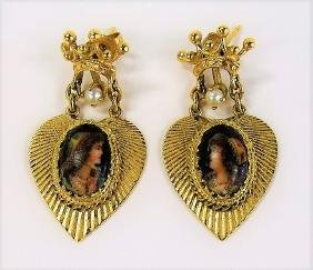 ANTIQUE 14KT Y GOLD EARRINGS PAINTED MOCHA LADY