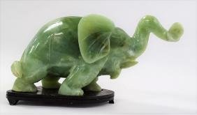CHINESE JADE ELEPHANT TRUNK UP FOR GOOD LUCK