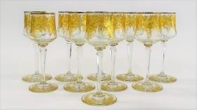 10 VINTAGE MOSER LONG STEM GLASS GOBLETS
