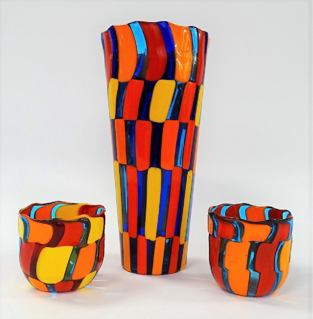 3 PIECE CARLO MORETTI MURANO CUPS AND GLASS VASE