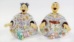PAIR VINTAGE JAPANESE LAUGHING NODDERS PORCELAIN
