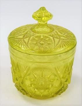 VINTAGE VASELINE GLASS BISCUIT JAR