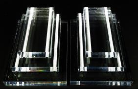 PAIR OF VINTAGE LUCITE STACKED BOOKENDS