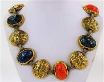 HAND HAMMERED AND ENAMEL LADIES GOLD TONE NECKLACE
