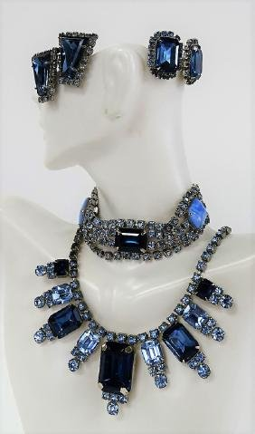 VINTAGE BLUE GLASS AND SILVER TONE SUITE