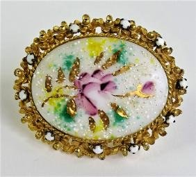 RARE ALICE CAVINESS PAINTED PORCELAIN BROOCH