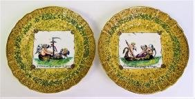19TH CENTURY K.P.M. ENAMELED HAND PAINTED CHARGERS