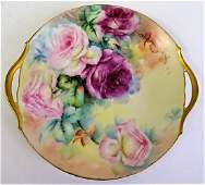 ANTIQUE LIMOGES HAND PAINTED CABBAGE ROSE PLATE