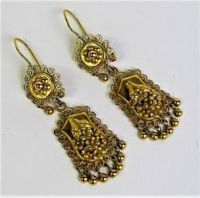 ESTATE 14 KARAT GOLD ETRUSCAN STYLE EARRINGS