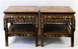 PAIR OF CHINESE WOODEN MARBLE INLAID SIDE TABLES