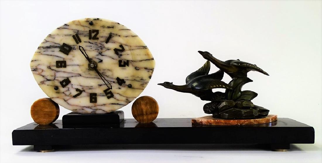 ART DECO FRENCH MARBLE CLOCK WITH BRONZE BIRDS