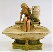 ROYAL DUX ART NOUVEAU LADY BY FOUNTAIN