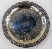 1880 TIFFANY & CO. STERLING SILVER FOOTED TRAY