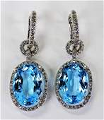 PR LADIES 18KT WG BLUE TOPAZ & DIAMOND EARRINGS