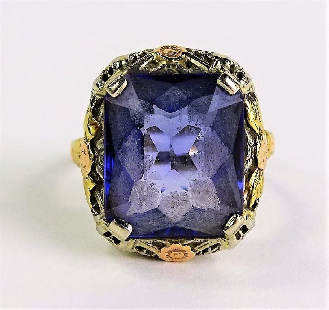 14K WHITE GOLD & SAPPHIRE COCKTAIL RING
