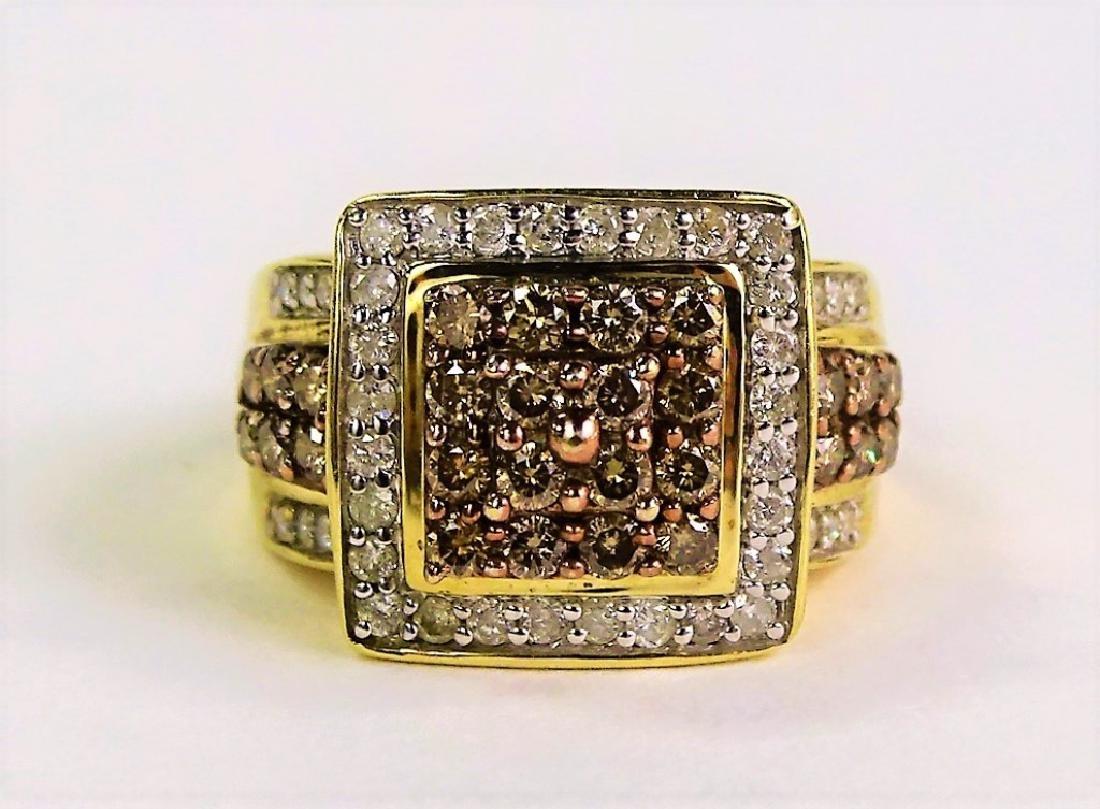10K YELLOW GOLD CHOCOLATE & WHITE DIAMOND RING