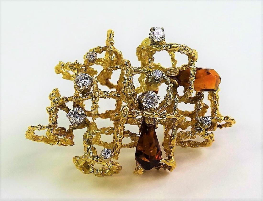 18KT YELLOW GOLD & 1-1/2CT DIAMOND TOPAZ BROOCH