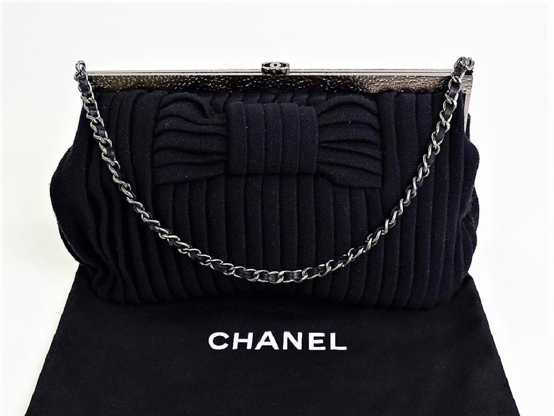 CHANEL BLACK JERSEY PLEATED EVENING BAG LIKE NEW