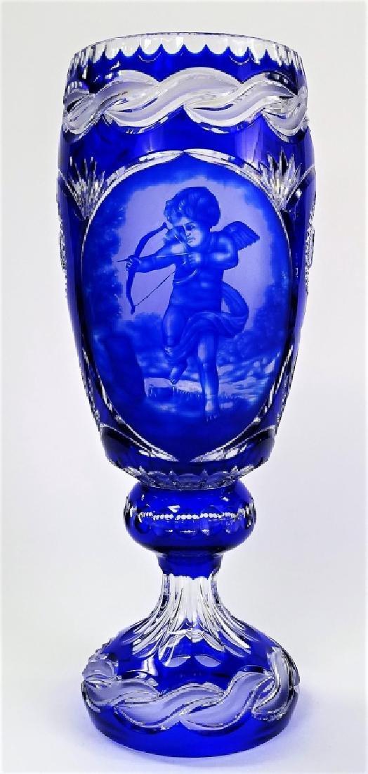 LARGE BOHEMIAN COBALT TO BLUE VASE WITH CHERUB