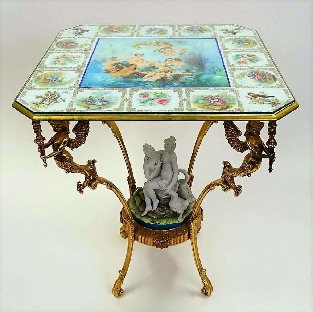 FABULOUS HAND PAINTED PORCELAIN AND BRONZE TABLE