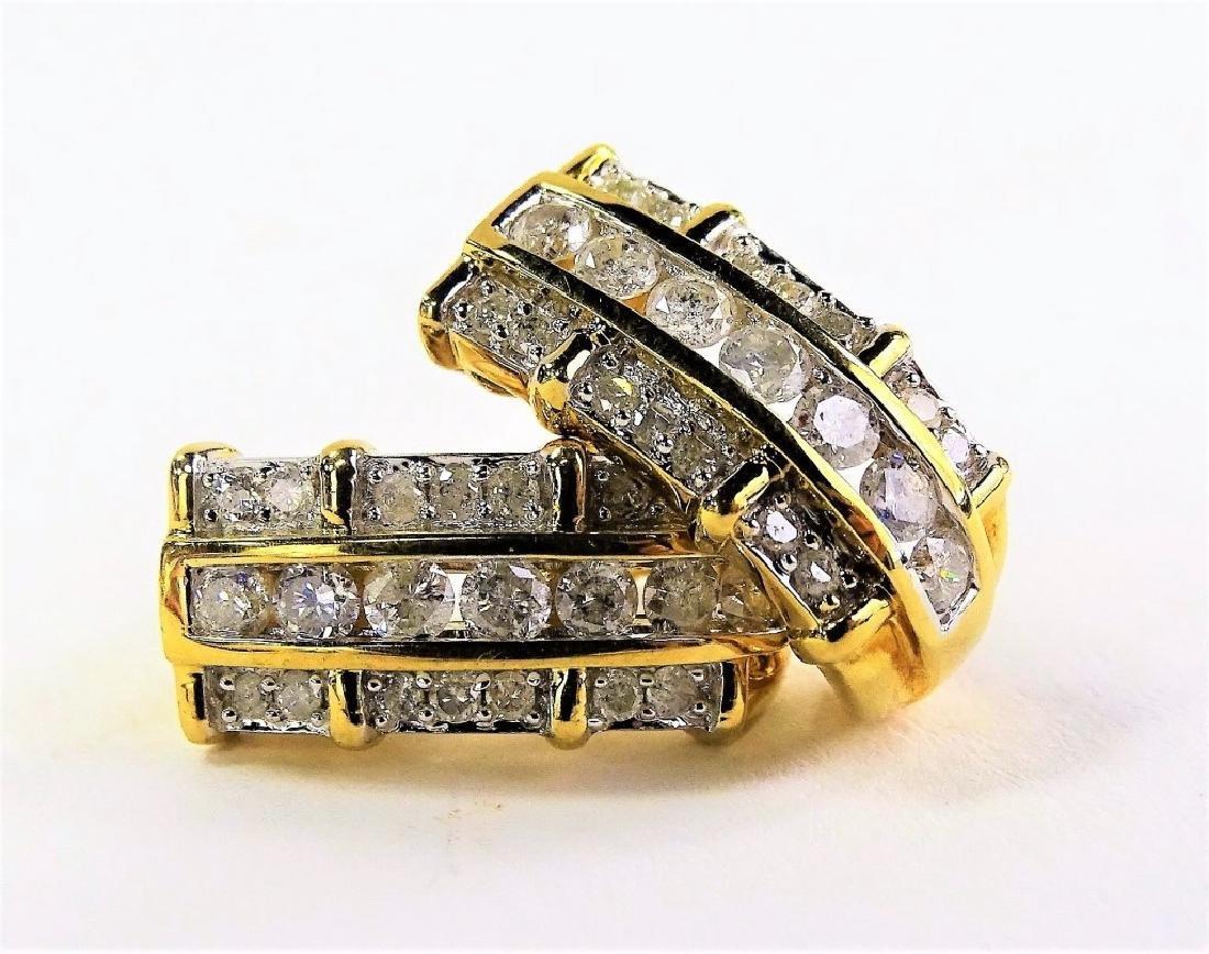 PR FANCY 14KT YG 3.00CT DIAMOND ENCRUSTED EARRINGS