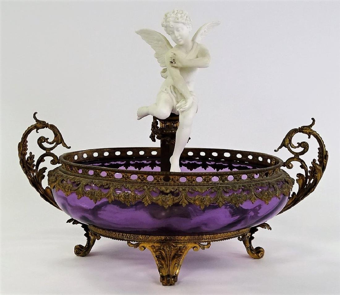 MOSER 19TH C. AMETHYST GLASS BRONZE FOOTED BOWL