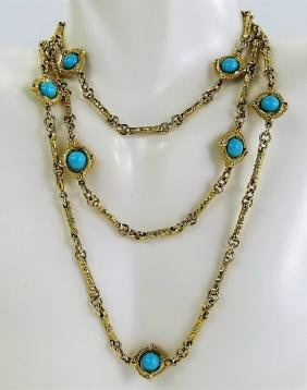 Large 14kt Yellow Gold & Turquoise Opera Necklace