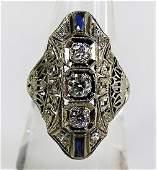 ESTATE 14K WHITE GOLD DECO DIAMOND & SAPPHIRE RING
