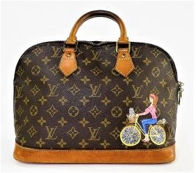 Louis Vuitton Alma Pm Hand Painted Canvas Handbag