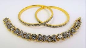 Lot Of Three Swarovski Crystal Bracelets