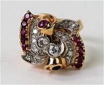 RETRO 14KT ROSE GOLD 2CT RUBY & DIAMOND RING