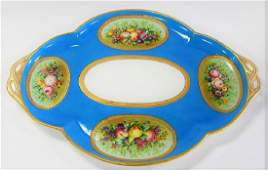 LARGE HAND PAINTED SEVRES PORCELAIN TRAY