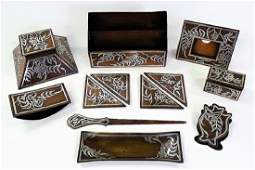 12PC HEINTZ ARTS  CRAFTS BRONZE  SILVER DESK SET