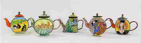 LOT OF 5 ENAMELED MINIATURE TEAPOTS BY KELVIN CHEN