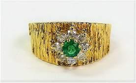 ESTATE 14KT GOLD EMERALD  DIAMOND LADIES RING