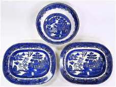 3PCS WEDGWOOD & CO. FLOW BLUE SERVING DISHES