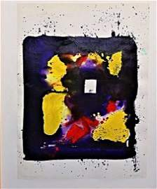 SAM FRANCIS ACRYLIC ON PAPER COMPOSITION 1976
