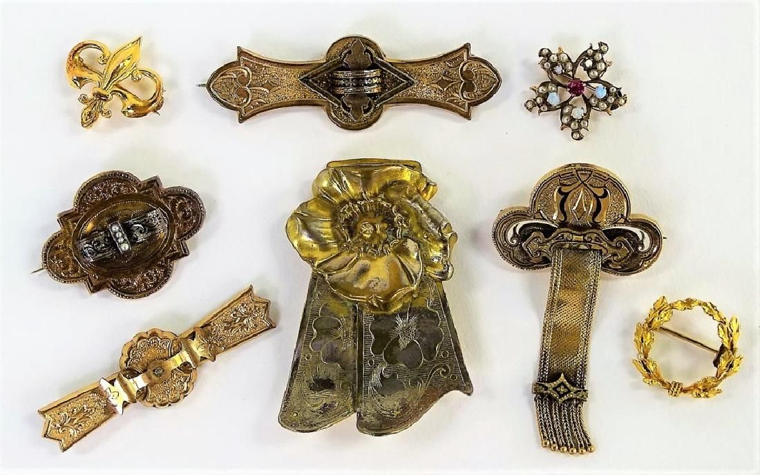 8PCS ANTIQUE GOLD PLATED ENAMELED PINS