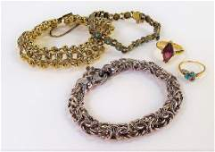 5PC LOT OF ASSORTED VINTAGE COSTUME JEWELRY