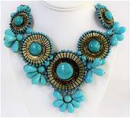VINTAGE FAUX TURQUOISE COSTUME JEWELRY NECKLACE