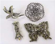 4PC LOT OF MARCASITE DECORATED COSTUME JEWELRY
