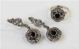VICTORIAN 10KT WG GARNET  DIAMOND JEWELRY SUITE