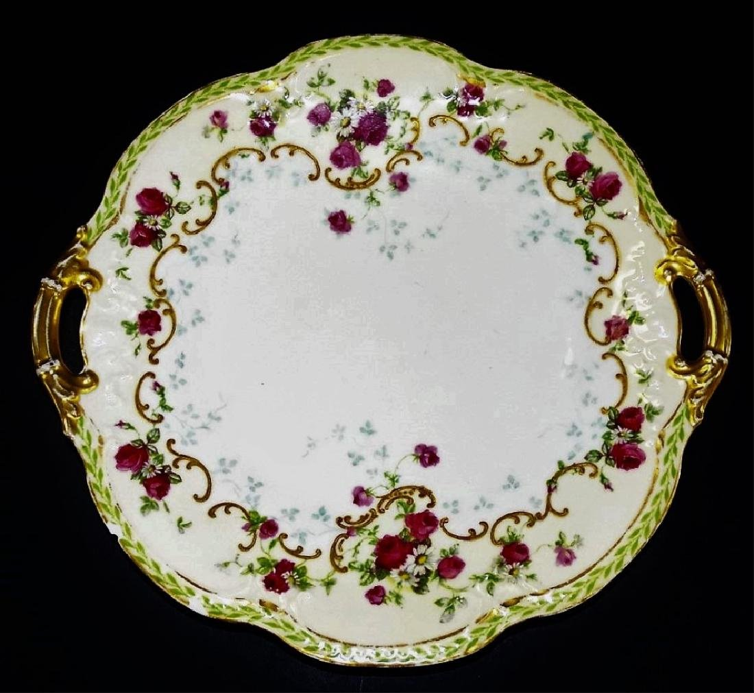 ANTIQUE LIMOGES HAND PAINTED HANDLED CAKE TRAY