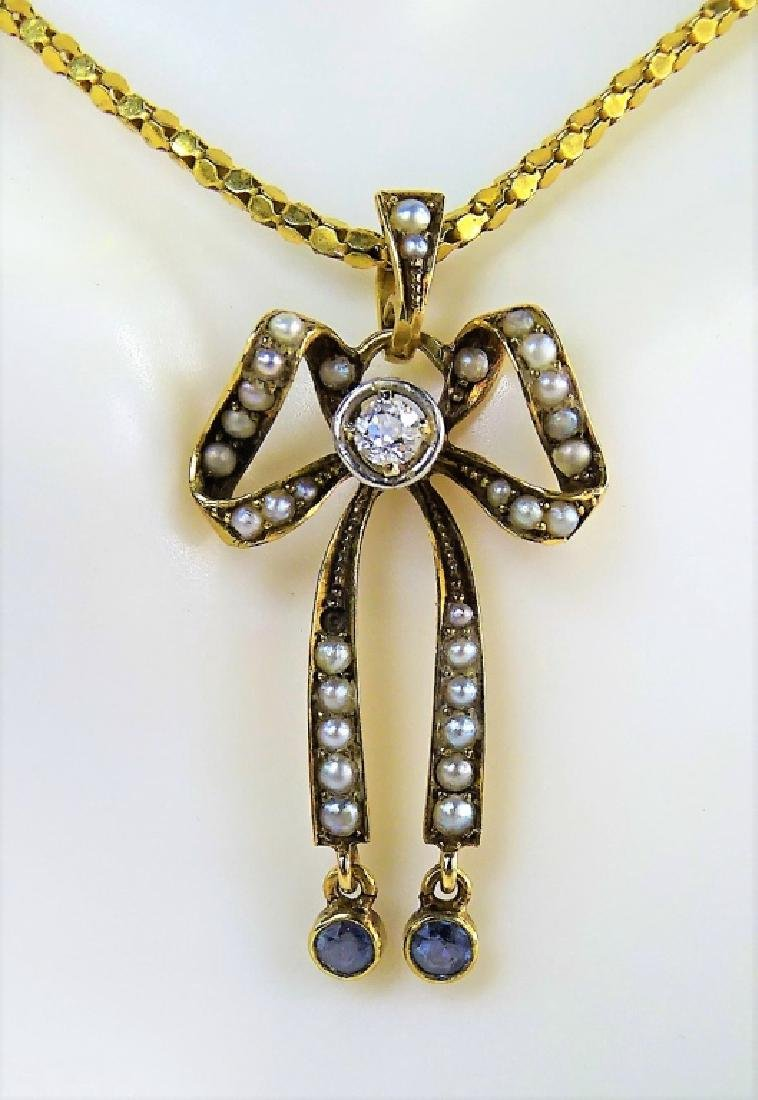 ANTIQUE 14KT YG SEED PEARL BOW PENDANT NECKLACE - 2