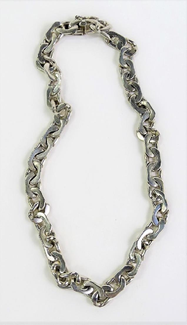 HEAVY TAXCO MEXICAN STERLING SILVER CHAIN NECKLACE - 2