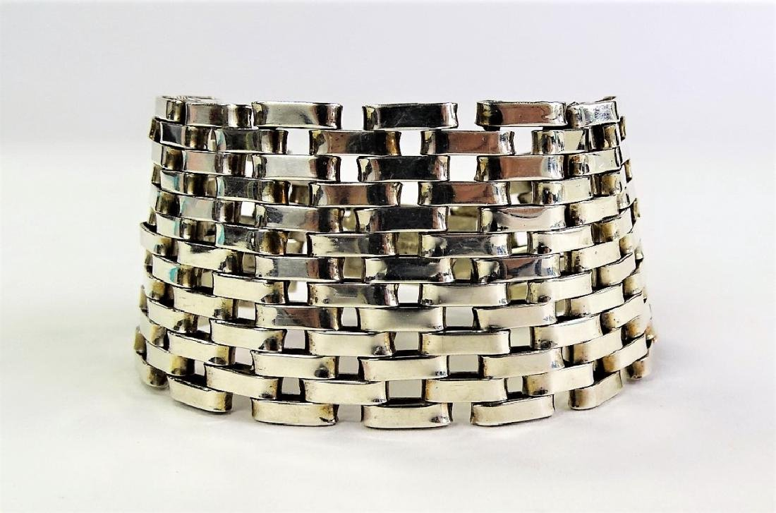 TAXCO MEXICAN STERLING SILVER MESH LINK BRACELET