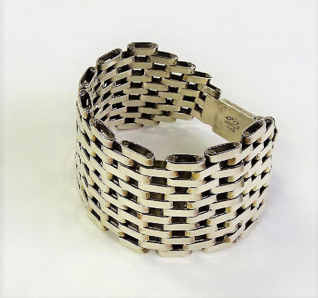 TAXCO MEXICAN STERLING SILVER MESH LINK BRACELET - 2